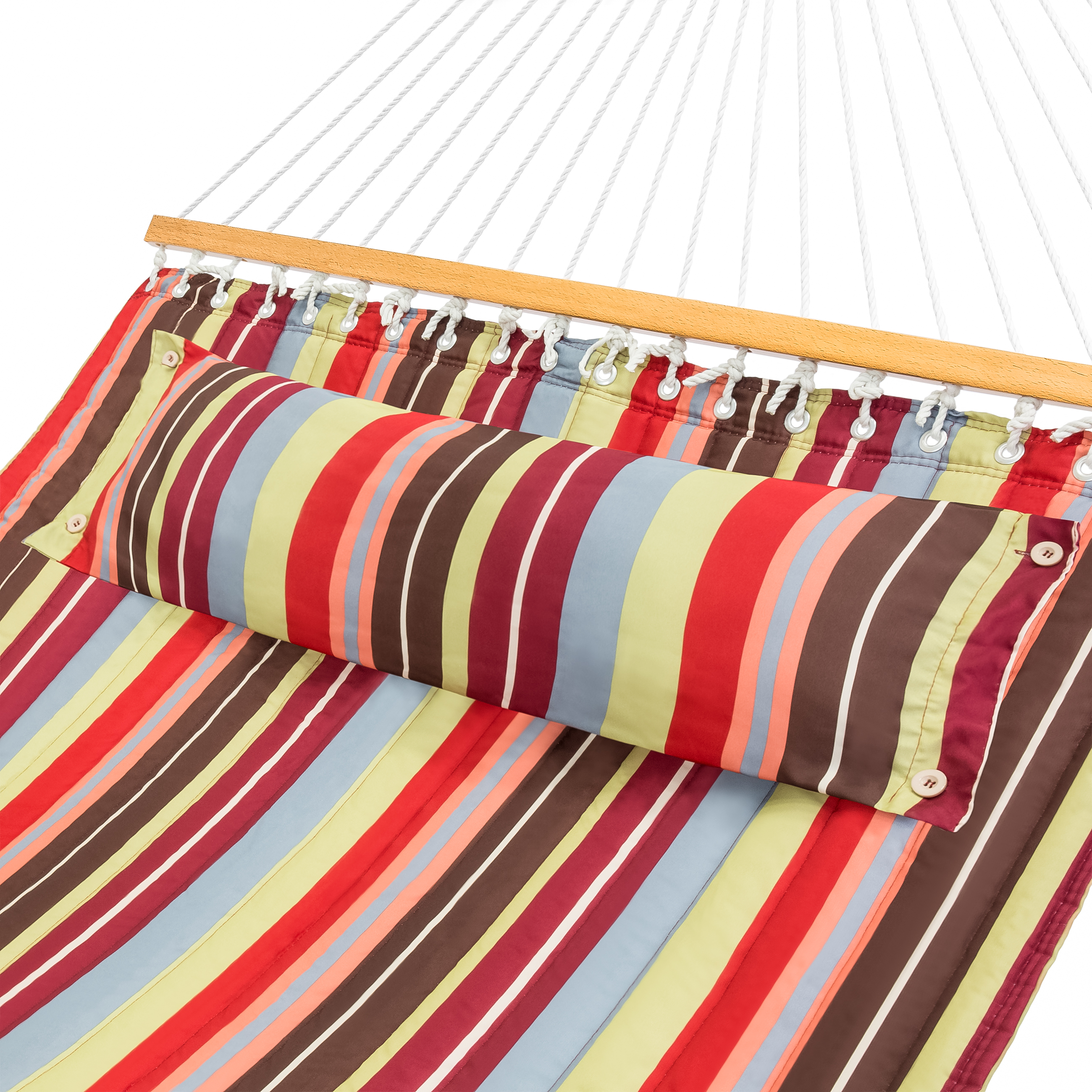 Best Choice Products Quilted Double Hammock w/ Detachable Pillow, Spreader Bar - Red and Blue Stripe