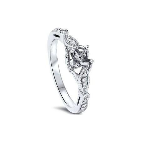 1/10ct Diamond Vintage Engagement Setting Platinum