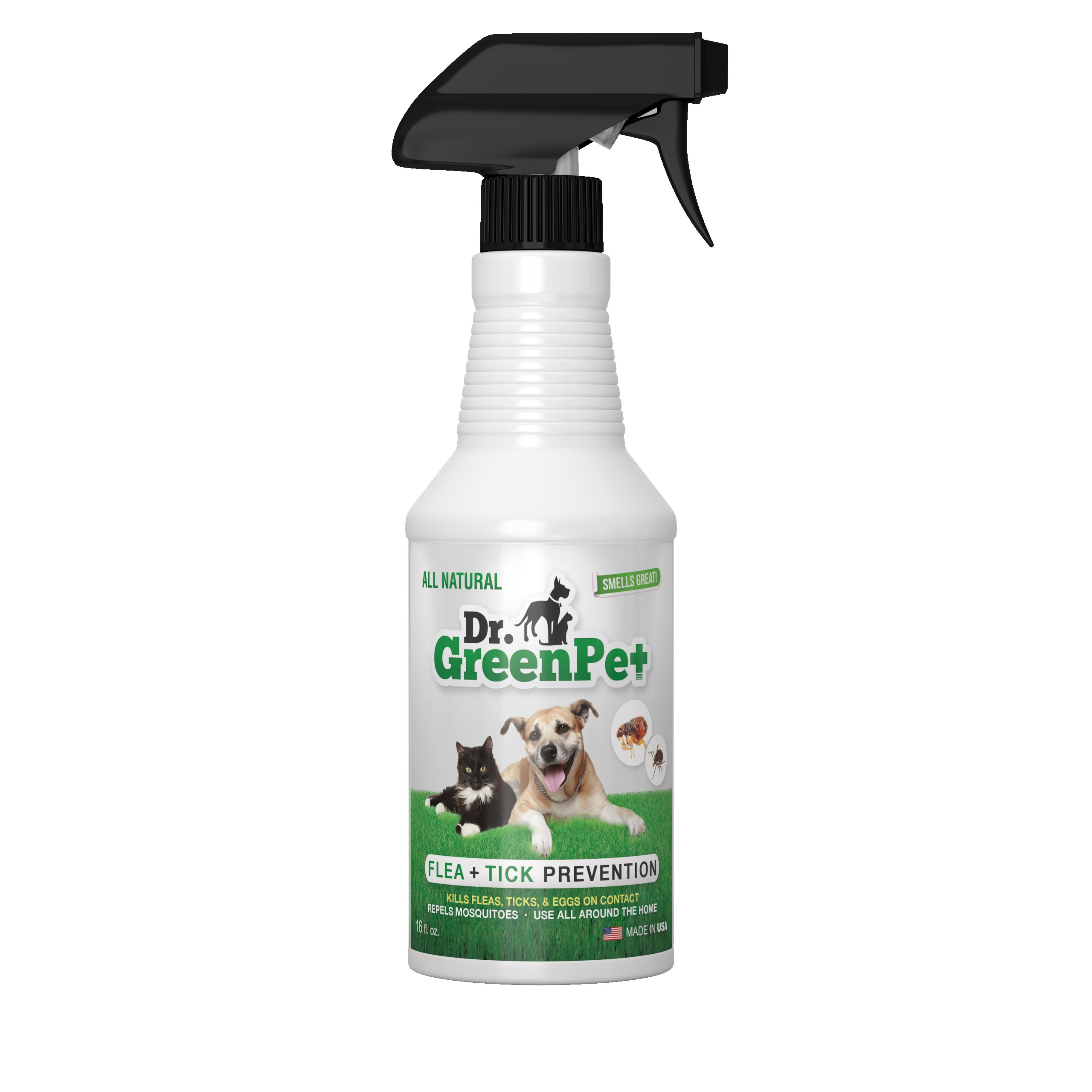 Dr. GreenPet All Natural Flea and Tick Prevention and Control Spray for Dogs and Cats 16oz Smells Great! by Pinelake Industries