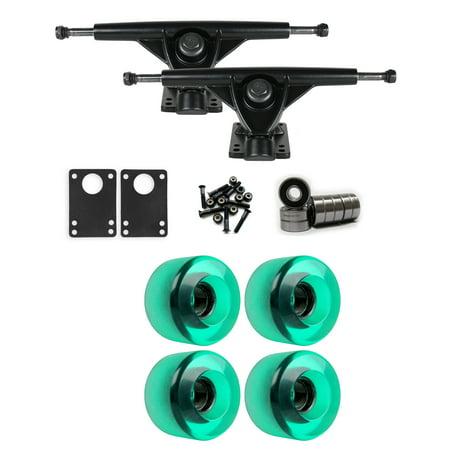 RKP Black Longboard Trucks Wheels Package 63mm x 40mm 83A 341C Green Clear