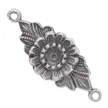 Flower Connector - Antiqued Silver Plated Nouveau Flower Connector Links 22mm (4)
