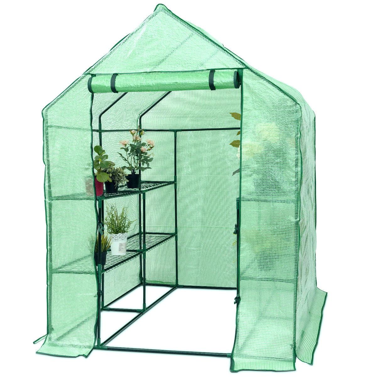 Costway Portable Mini Walk In Outdoor 2 Tier 8 Shelves Greenhouse