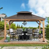 Sunjoy Missouri Collection 10 ft. x 12 ft. Cedar Framed Gazebo with Brown Steel 2-tier Hip Roof Hardtop