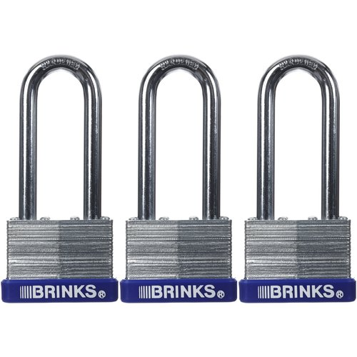 Brinks 44mm Long Shackle Laminated Steel Padlock, 3-Pack