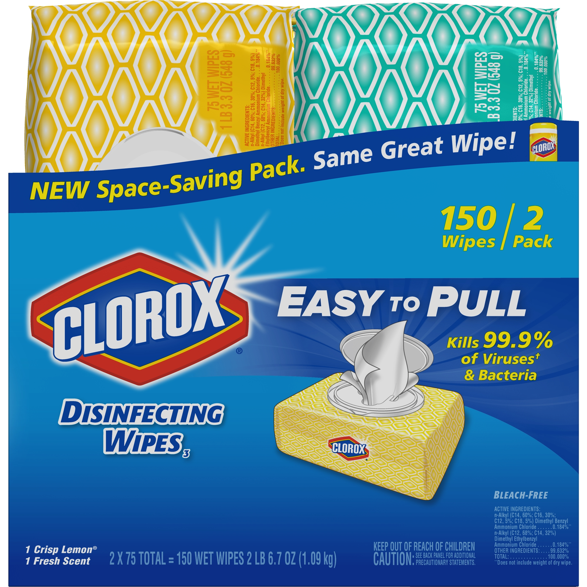 Clorox Disinfecting Wipes, 2 Soft Packs, (150 ct) Bleach Free Cleaning Wipes - 1 Crisp Lemon and 1 Fresh Scent