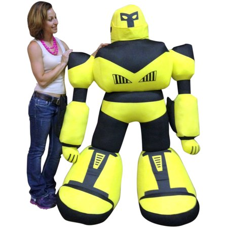 giant stuffed robot 5 feet tall enormous soft yellow robo plush 60 inches. Black Bedroom Furniture Sets. Home Design Ideas