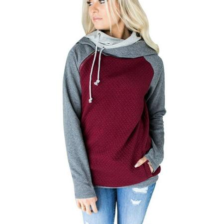 Women Long Sleeve Hoodie Sweatshirt Cowl Neck Sweater Hooded Jumper Pullover Top
