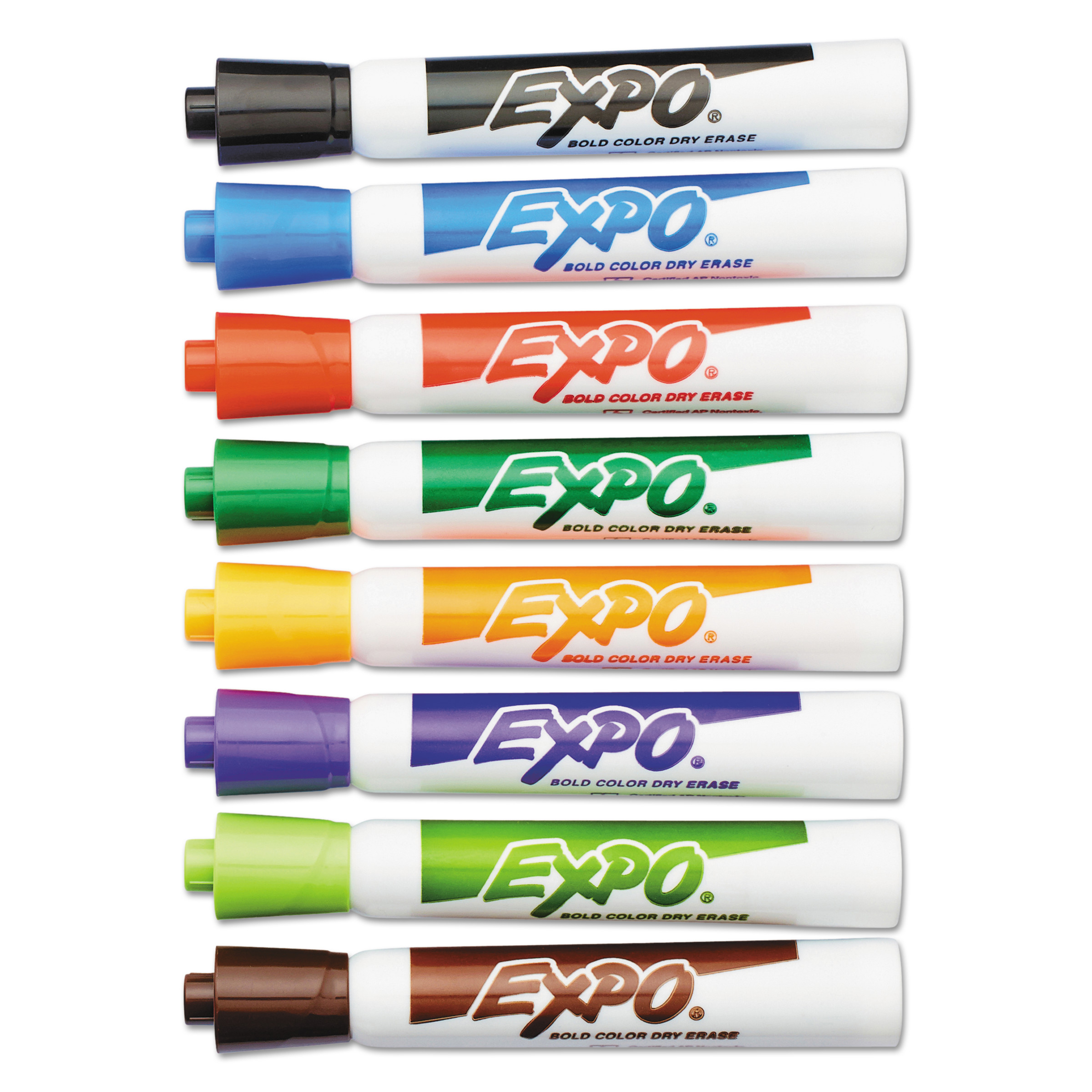 EXPO Dry Erase Markers, Eight-Color Set, Chisel Tip, 8/Set