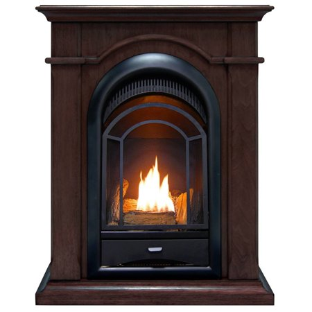 ProCom FS100T-CH Ventless Fireplace System 10K BTU Duel Fuel Thermostat Insert and Chocolate Mantel Dual Fuel Thermostat Range