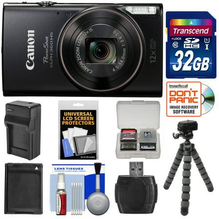 Canon PowerShot Elph 360 HS Wi-Fi Digital Camera (Black) with 32GB Card + Battery & Charger + Flex Tripod + - Canon Powershot Sd1100 Is Digital Elph Camera