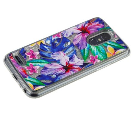 Insten Luxury Quicksand Glitter Liquid Floating Sparkle Bling Fashion Phone Case Cover for LG Stylo 3 - Water Color Hibiscus Flowers - image 1 of 5
