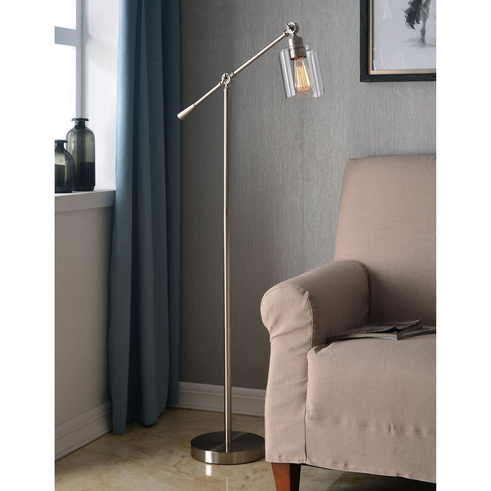 Kenroy Home Thornton Brushed Steel Floor Lamp