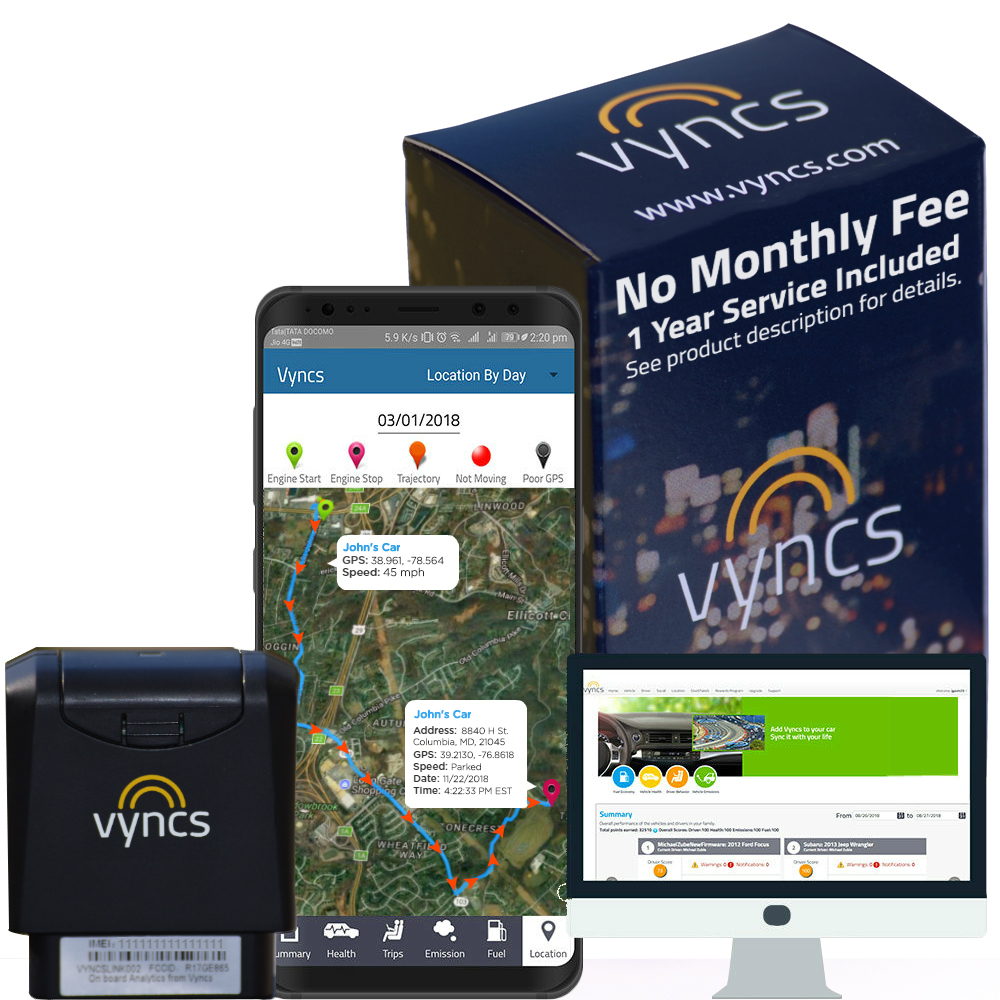 GPS Tracker Vyncs No Monthly Fee Real Time 3G OBD Car GPS Tracker, Trips, Engine Diagnostics, Fleet Location Tracking, Unsafe Driving Alerts, Teen Monitoring, Optional Roadside Assistance