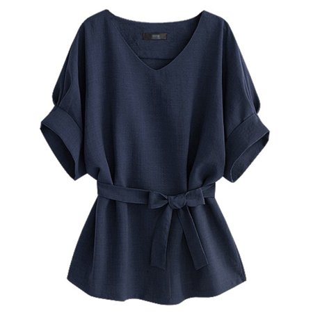 Esho Women V Neck Casual Tunic Top Blouse Bowknot Belt OL T Shirts (Best Blouse Style For Large Bust)