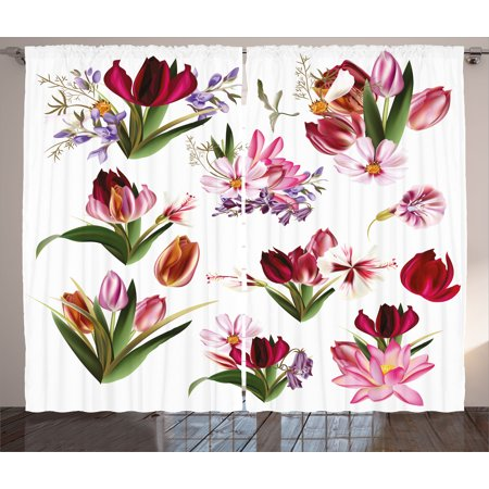 Floral Curtains 2 Panels Set, Big Collection of Realistic Flowers Flourishing Tulips Cosmos and Lilies Artwork, Window Drapes for Living Room Bedroom, 108W X 84L Inches, Multicolor, by Ambesonne