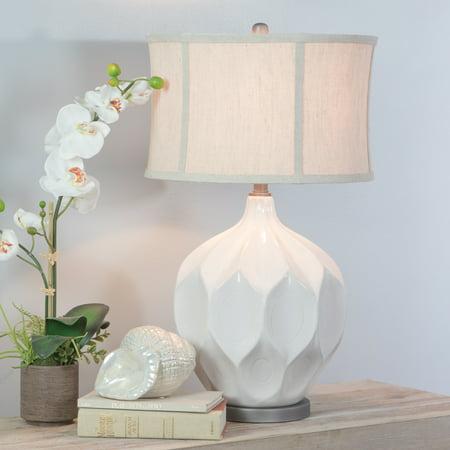 Jasmine Large White Ceramic Table Lamp (White Ceramic Lamps)
