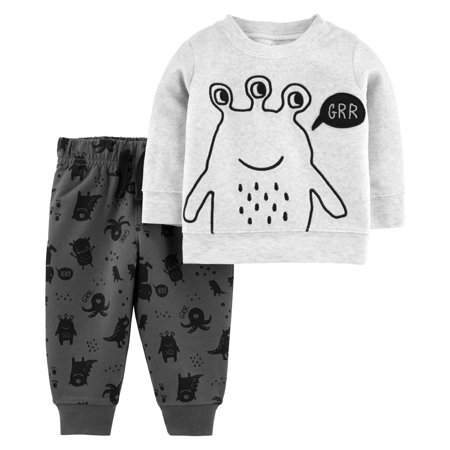 Child of Mine by Carter's Toddler Boy Micro Fleece Long Sleeve Shirt and Pant, 2pc Outfit Set