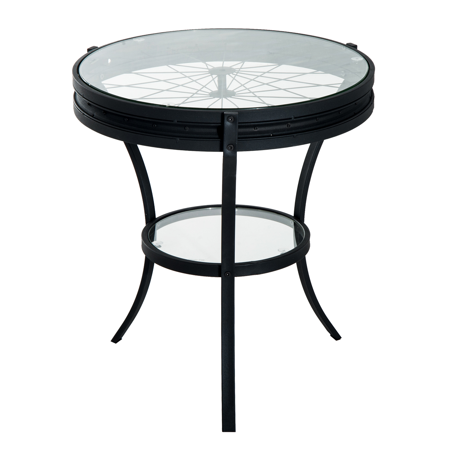 HomCom 22� Round Metal Glass Top Bicycle Wheel Accent End Table Black by Aosom