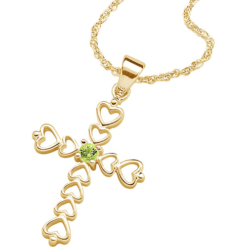 Personalized 14kt Gold-Plated Birthstone Heart Cross Pendant