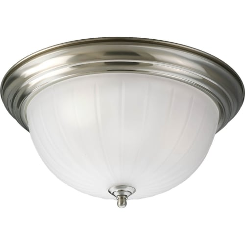 "Progress Lighting P3818 3 Light Flush Mount Ceiling Fixture with Etched Glass Shade - 15"" Wide"