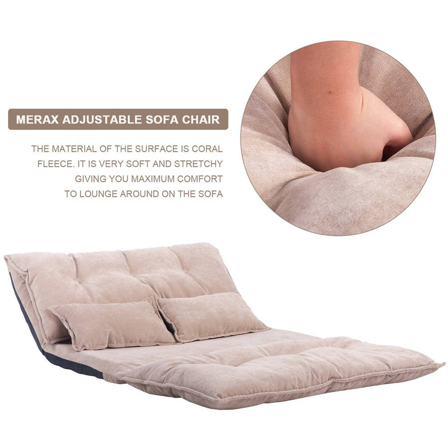 Merax Fabric Foldable Floor Sofa Bed Adjustable Futon with Two