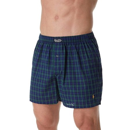 Polo Ralph Lauren 100% Cotton Classic Plaid Woven Boxer (L104HR) S/Ralph Plaid/Gold ()