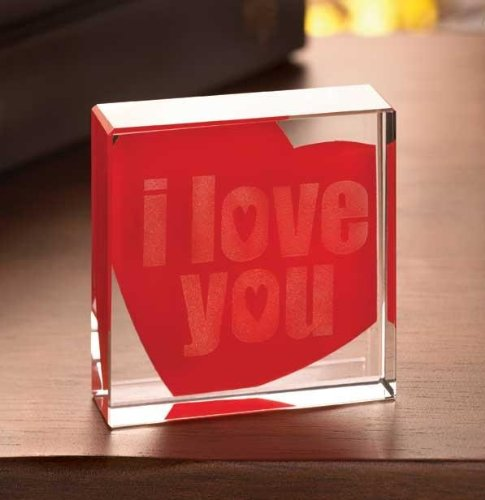 Gifts & Decor I Love You Glass Cube Valentines Day Gift Paperweight