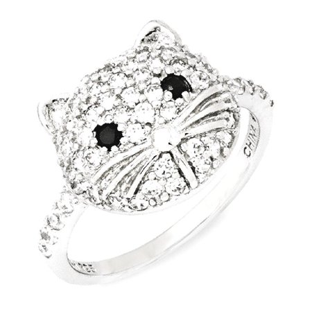 IceCarats 925 Sterling Silver White Black Cubic Zirconia Cz Cat Band Ring Size 6.00  Animal  Fine Jewelry Gift Valentine Day Set For Women Heart - Rings For Valentine's Day