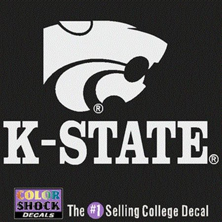 Kansas State Wildcats White Decal - Mascot Over K-State - Small