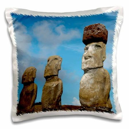 Rapa Nui Statues (3dRose Chile, Easter Island, Rapa Nui NP, Moai statues, Moai with headdress - Pillow Case, 16 by 16-inch )