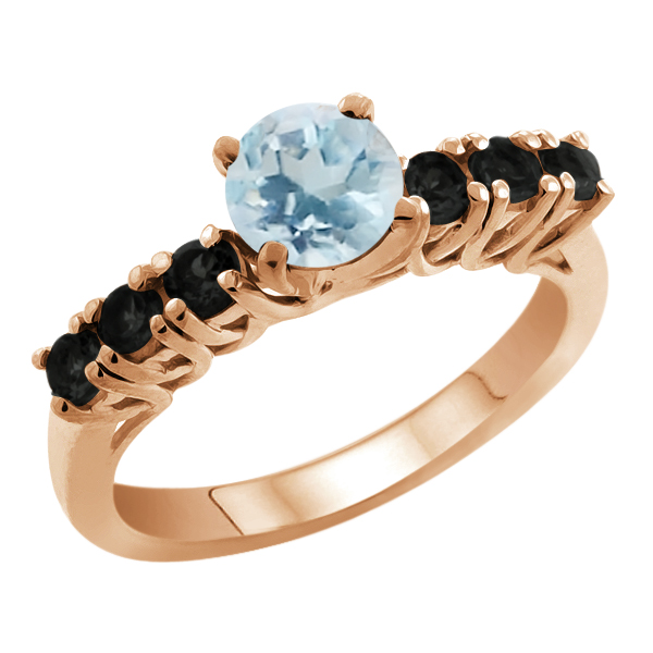 1.58 Ct Round Sky Blue Topaz Black Diamond 925 Rose Gold Plated Silver Ring