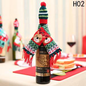 Fancyleo 3 Sets Christmas Bottle Covers Sweater Wine Cover Bottle Decor Christmas Party Table Decorations