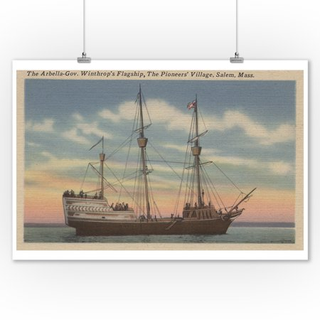 Salem, MA - View of Capt. Winthrop's Arbella (9x12 Art Print, Wall Decor Travel Poster) - Salem Ma For Halloween