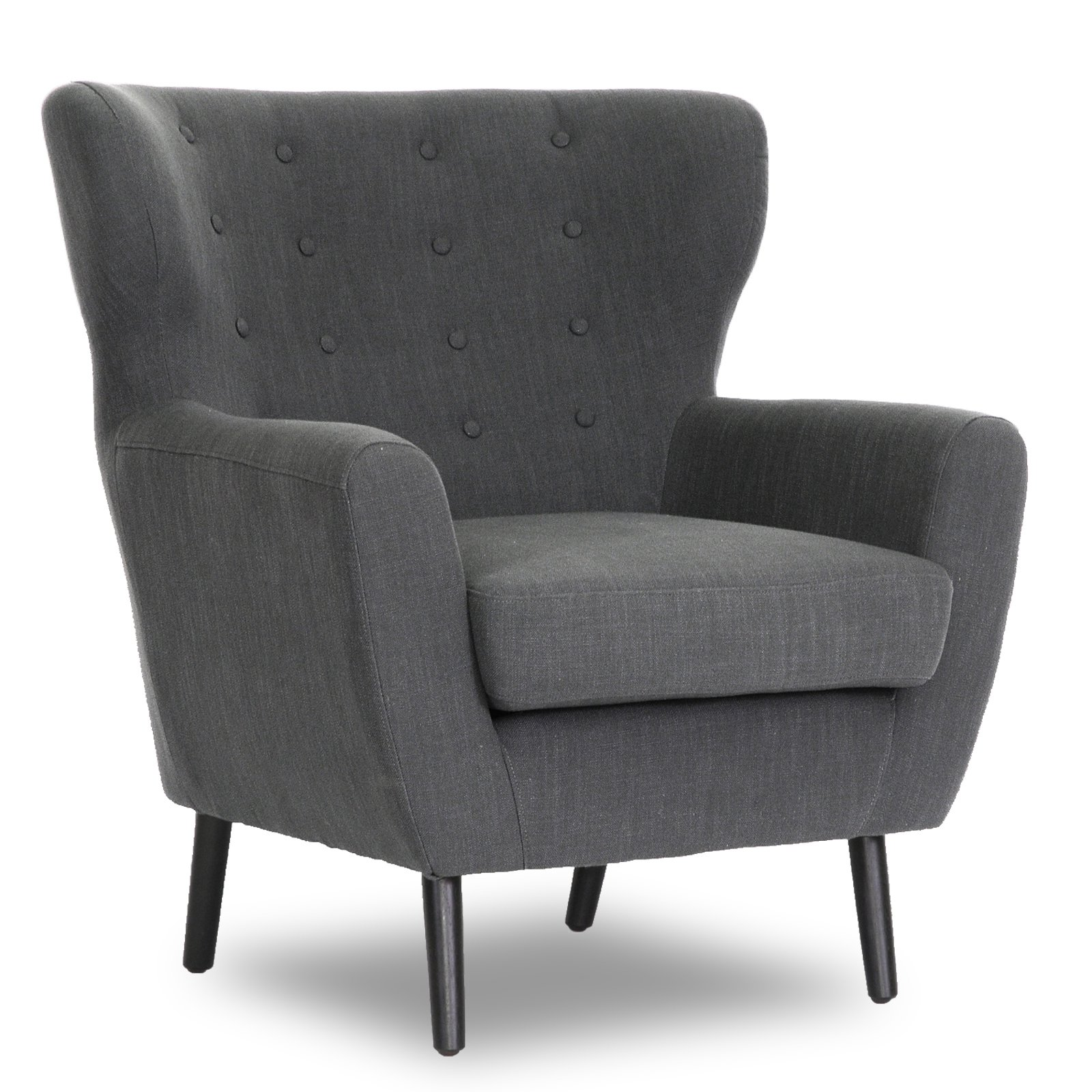 Baxton Studio Lombardi Linen Modern Club Chair - Dark Gray