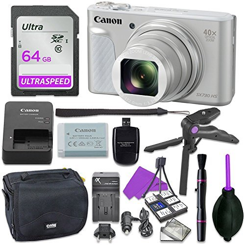 Canon Powershot SX730 Silver Point & Shoot Digital Camera Bundle w/ Tripod Hand Grip , 64GB SD Memory , Case and More