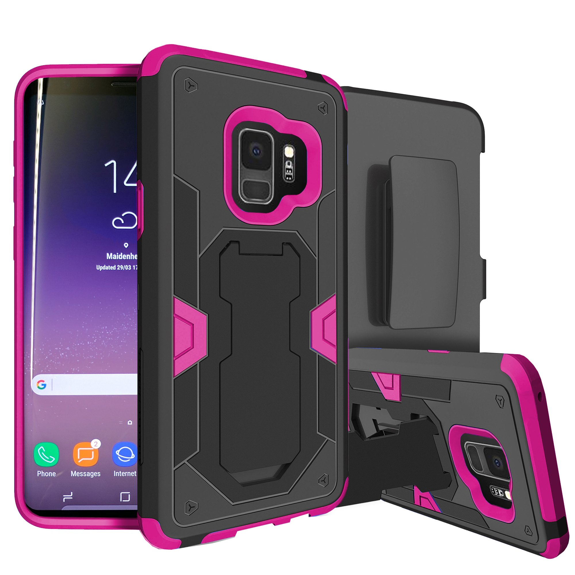 Samsung Galaxy S9 Rugged Defense Case by MINITURTLE [PINK MAX DEFENSE Case for Galaxy S9 SM-G960] Hybrid Silicone Case w/ Bonus Holster Belt-Clip & Built-in Kickstand Function - Mandala