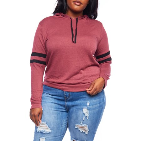 Womens Plus Size Casual Simple 2 Stripe Fashion Pullover Hoodie Top XT60301