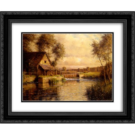 Louis Aston Knight 2x Matted 24x20 Black Ornate Framed Art Print 'Old Mill in Normandy'](Knights In Black Satin)