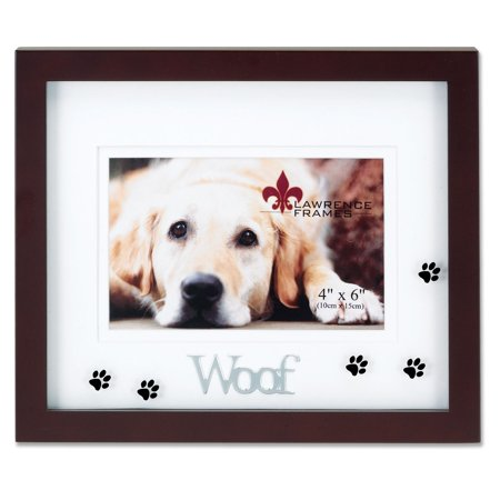- Walnut Wood 4x6 Woof Picture Frame - Matted Shadow Box Dog Frame