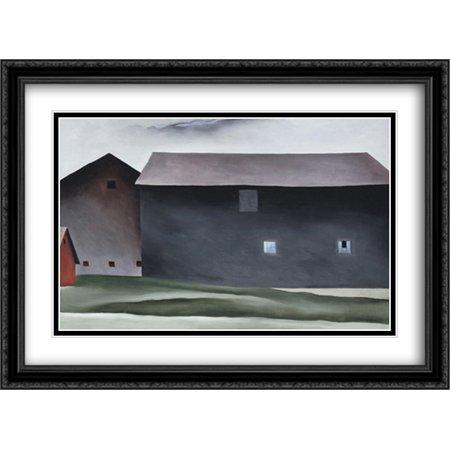 (Lake George Barns 2x Matted 38x28 Large Black Ornate Framed Art Print by O'Keeffe, Georgia)