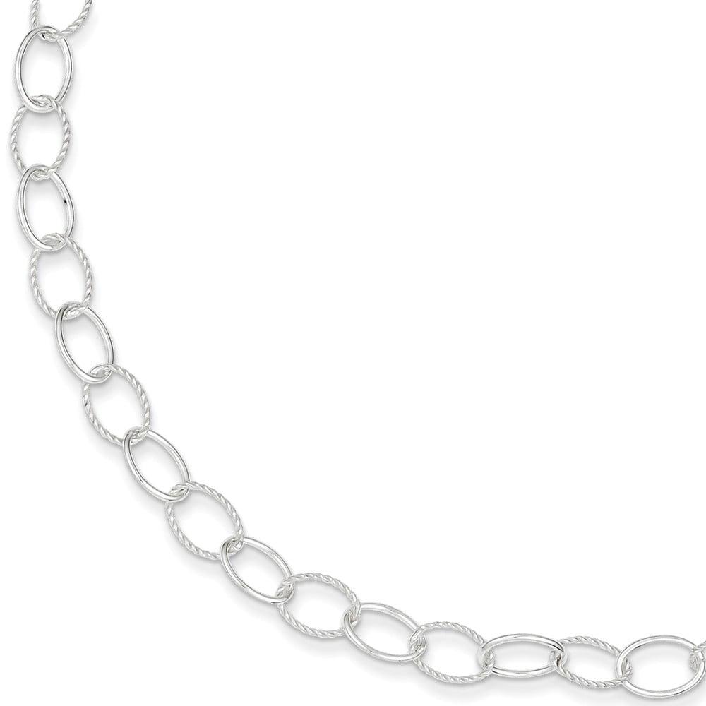 Sterling Silver 7.5in Fancy Circle Bracelet
