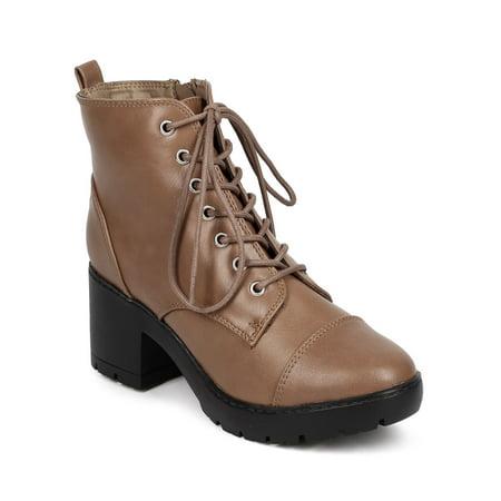 ce949eae17d Breckelles DD71 Women Leatherette Cap Toe Block Heel Lace Up Combat Boot