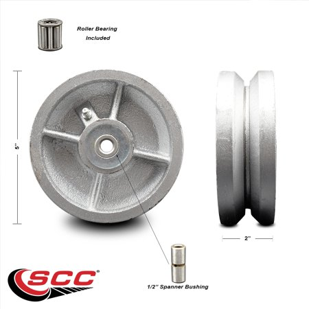 """5"""" x 2"""" Semi Steel Cast Iron V-Groove Wheel Only with Roller Bearing - 1/2"""" Bore - 1100 lbs Capacity per Wheel  -  Service Caster Brand"""