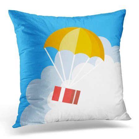 - ARHOME Export Delivery Flat Style Parachute Red Box Floating in Blue Sky with Orange Creative Colorful Pillow Case Pillow Cover 18x18 inch