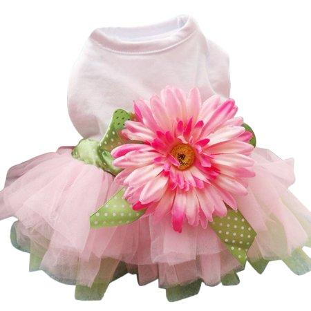 Spring Summer Pet Dog Dress Clothes With Big Sunflower Cute Princess Skirt Wedding Ball Gown Party Dress Pet Supplies - image 1 de 7
