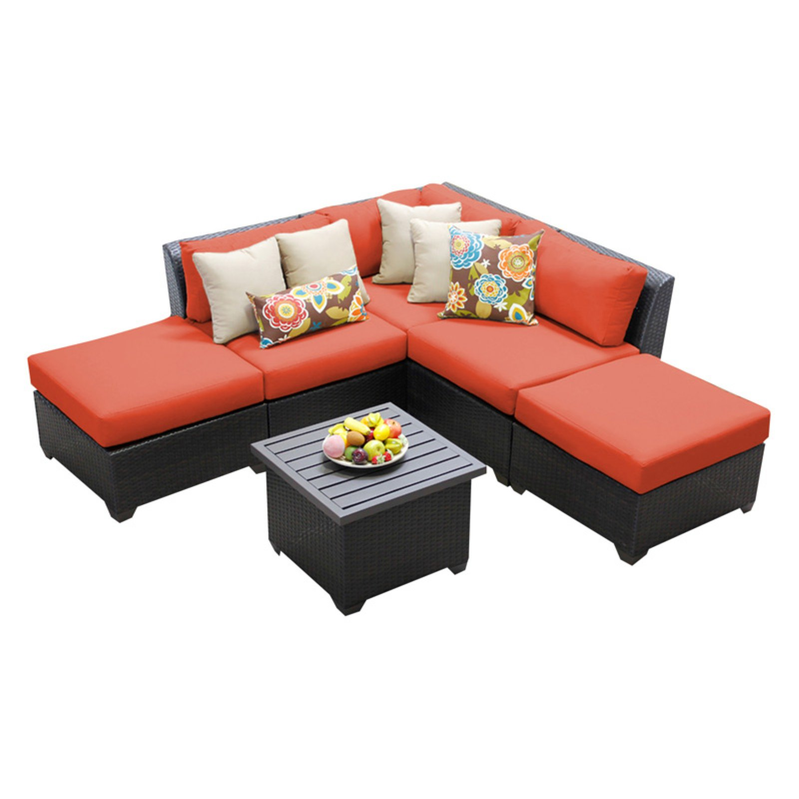 TK Classics Barbados Wicker 6 Piece Patio Conversation Set with End Table and 2 Sets of Cushion Covers