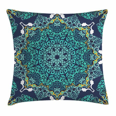 Floral Accent Pillow - Turkish Pattern Throw Pillow Cushion Cover, Authentic Motifs of Ottoman Culture Round and Floral Shape, Decorative Square Accent Pillow Case, 18 X 18 Inches, Turquoise Dark Blue Yellow, by Ambesonne