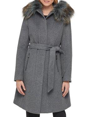 Luxe Wool-Blend Faux Fur-Trim Wrap Coat