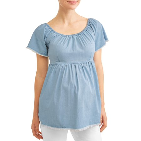Maternity Fringe Chambray Babydoll Top