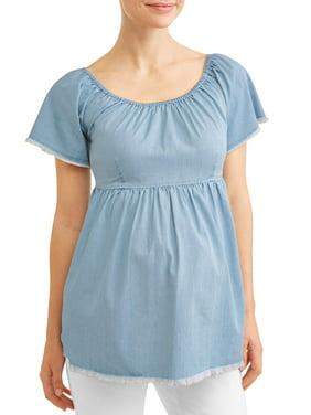 56e2c164882c1 Product Image Maternity Fringe Chambray Babydoll Top